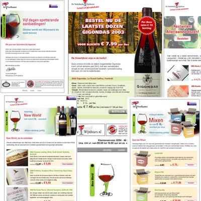 E-mail advertenties en logo voor De Wijnbeurs
